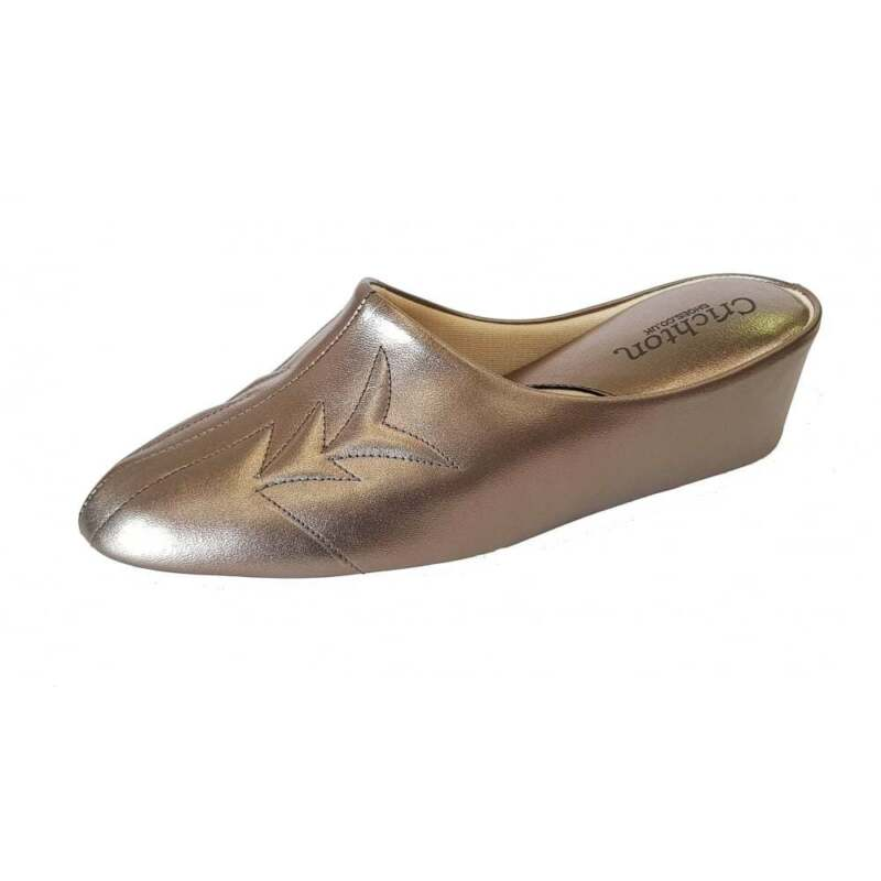 Relax Natalia 7352 L Oro Pelle Con Tacco Pantofola