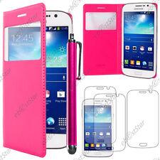 Housse Etui Fenêtre View PU Cuir Rose Samsung Galaxy Grand 2 + Stylet + 3 Films