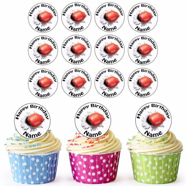 Boxing Punch 24 Personalised Pre Cut Edible Birthday Cupcake Toppers Boys Men