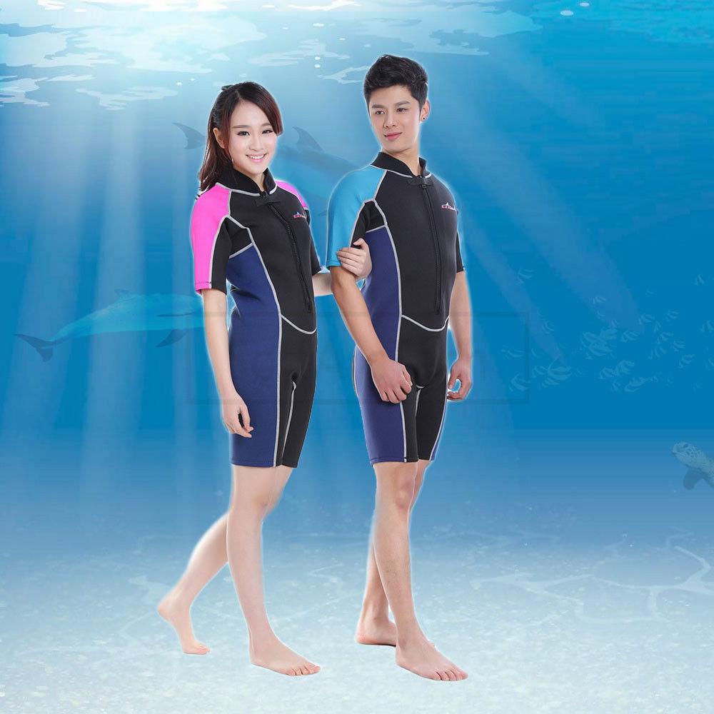 2mm Short Sleeve Neoprene Wetsuit Scuba Diving Surfing Snorkeling Suit Men Women