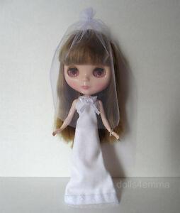 BLYTHE-DOLL-CLOTHES-Wedding-BRIDAL-GOWN-VEIL-JEWELRY-Fashion-NO-DOLL-dolls4emma