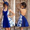 50s Womens Vintage Rockabilly Pinup Hepburn Halter Swing Evening Party Dress