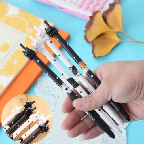 Roller Gel Ball Ink Pens Black School Kids Point Cat 2Pcs Kawaii Pen Korean Cute