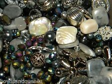 NEW 1/2Lb of BLACKS 6-15mm MIXED LOOSE BEADS LOT GEM, Stone, Glass, Pearl
