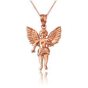 ddc37021b9c Image is loading 14K-Rose-Gold-Cherub-Guardian-Angel-Small-Pendant-