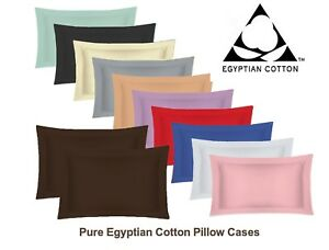 Pure-Egyptian-Cotton-Oxford-Pillow-Cases-Pair-Housewife-Pillow-Cases-200-Thread