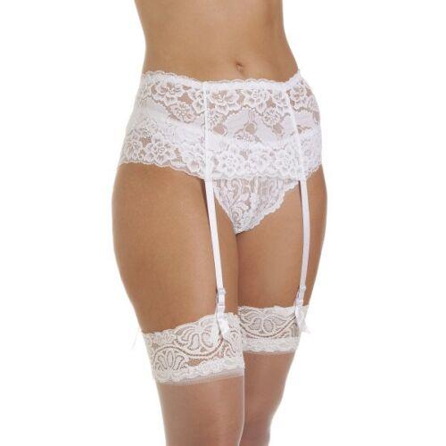 Elegant Wide Lace Suspender Belt  For Stockings 4 Silk Ribbon Adjustable  Strap
