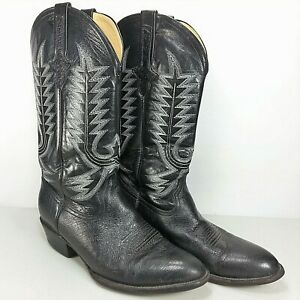 f403b63a233 Details about Ferrini Mens Black Genuine Ostrich Skin Leather Western  Cowboy Boots Size 9.5