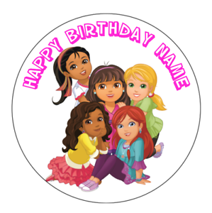 Dora-and-Friends-Personalised-Edible-Birthday-Cake-Decoration-Topper-Round-Image