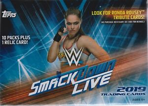 2019-Topps-WWE-SMACKDOWN-Live-Wrestling-Trading-Cards-71c-Retail-BLASTER-Box