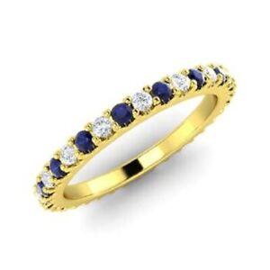0.72 Ct Round Diamond Blue Sapphire Wedding Eternity Band 14K Yellow Gold Size 4