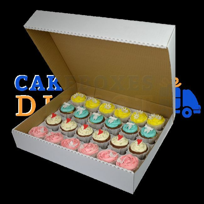 24 Cupcake Corrugated boxes with 6cm Dividers - CHOOSE YOUR QUANTITY AND DEPTH