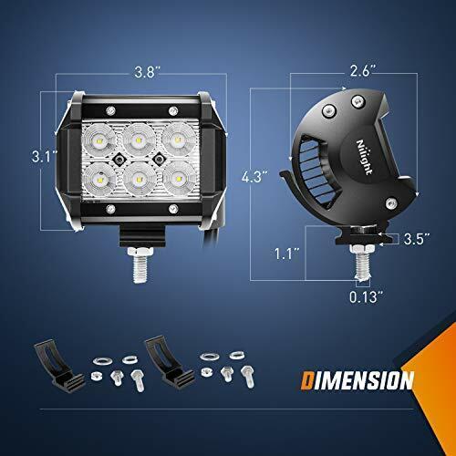 """Nilight 12 Inch 72W LED Light Combo Bar 2PCS 4/"""" 18W Flood LED Fog Lights Wiring"""