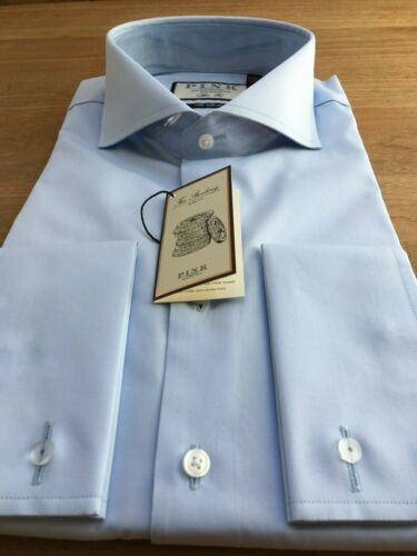 Thomas Pink 2 volte Camicia 100/'s UK:17L Nuovo con Etichetta prezzo consigliato: £ 115 Cutaway Collare EU:43L