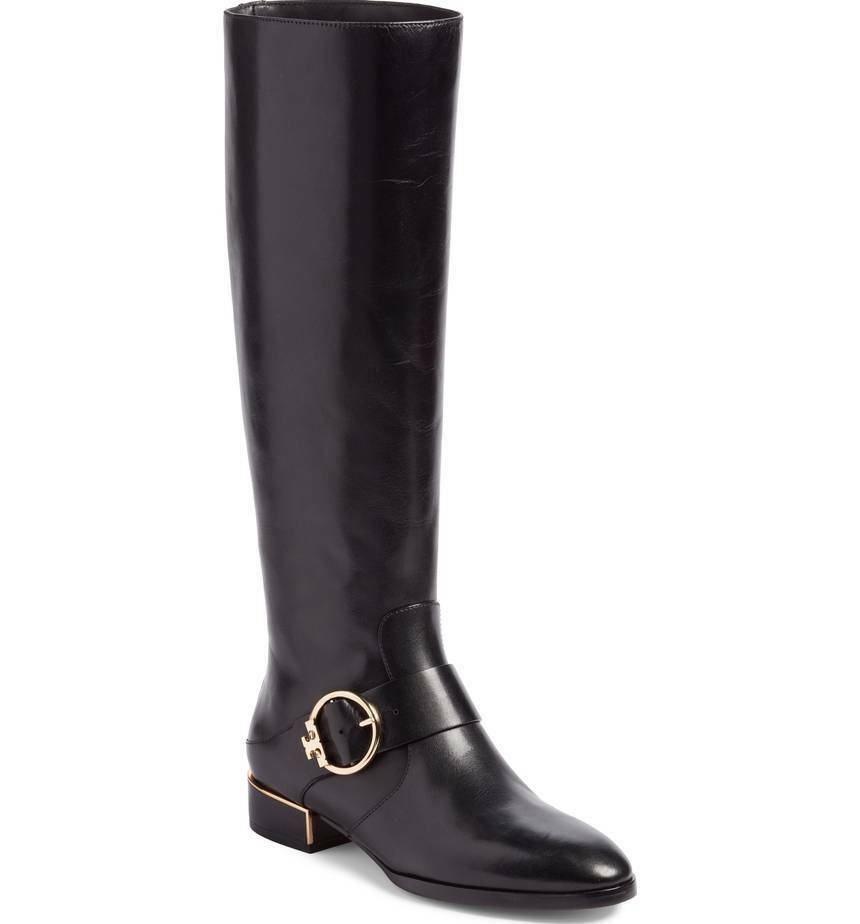 NIB Tory Burch SOFIA BUCKLED Logo Knee High Riding Boot  Equestrian Black 9.5 M