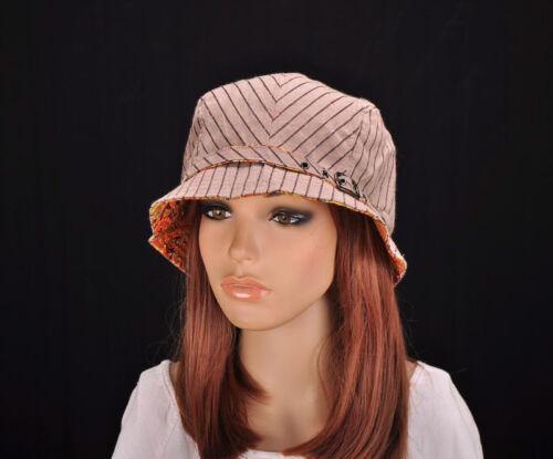 M195 Marron Cute Stripe Coton Chapeau De Soleil Bord Cap Seau Newsboy Summer Women/'s Neuf avec étiquettes