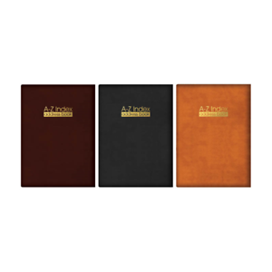 A-Z-Index-Leather-Cover-Executive-Padded-Address-Book-Assorted-Colours-amp-Size