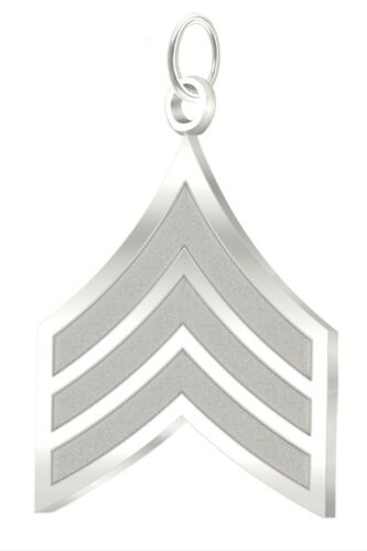New 0.925 Sterling Silver US Army Sergeant Military Pendant