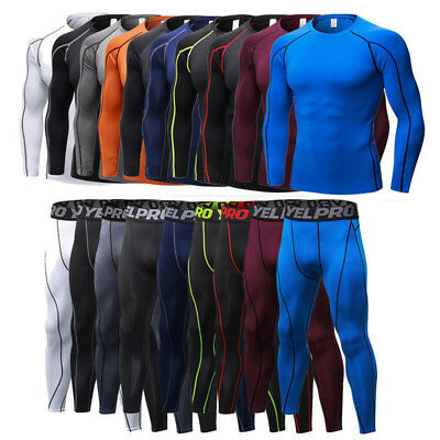 YEL-PRO Mens Compression Tight Base Layer Long Under Shirt/&Pants Sport Suit Set