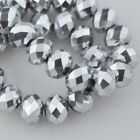200pcs 6x4mm Rondelle Faceted Crystal Glass Loose Beads Metal Silver