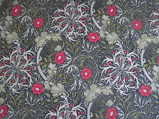 "WILLIAM MORRIS CURTAIN FABRIC ""Seaweed"" 0.90 METRE EBONY/POPPY DM3P224471"