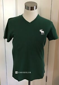 NWT-Abercrombie-amp-Fitch-Men-s-SHORT-SLEEVE-EXPLODED-ICON-V-NECK-TEE-Green-Large
