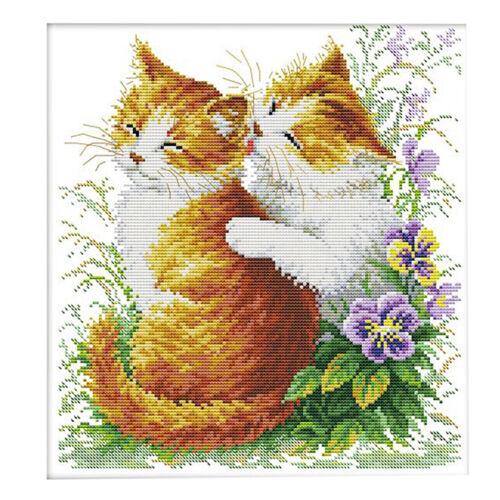 zum Sticken Art Kreuzstichpackungen mit aufgedrucktem Muster   Kissing Cats