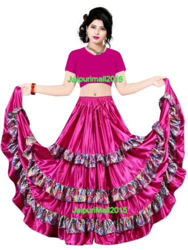 Satin Gypsy 6//12//25 Yard Skirts 4 Tier Printed Frill Belly Dance Flamenco Jupe