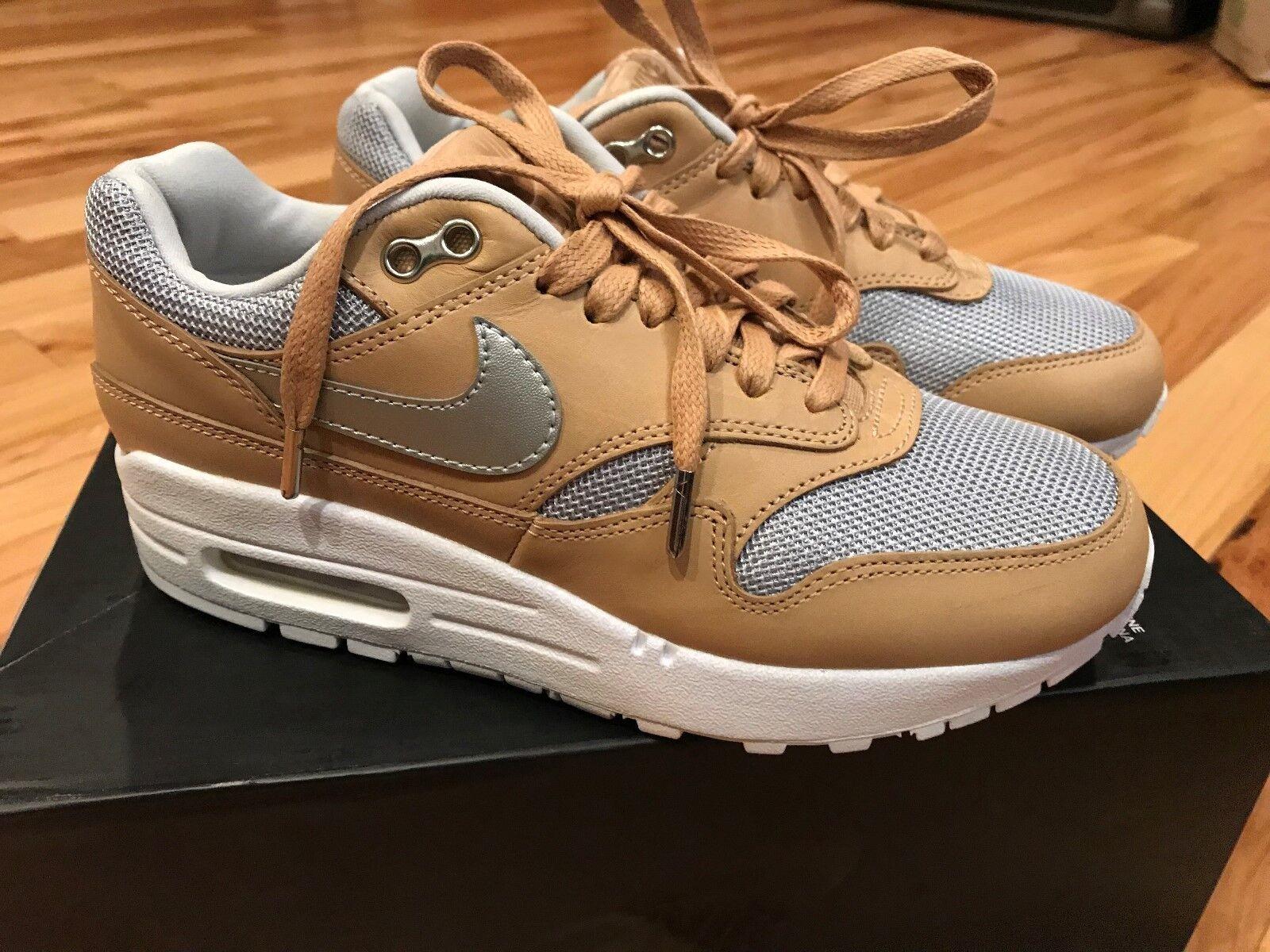 Nike Women's Air Max 1 SE PRM Vachetta Tan Metallic Silver Ao0795 200 Size 5