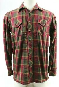 5-11-Men-039-s-Casual-Tactical-Long-Sleeve-Shirt-Sz-Medium-Pearl-Snap-Plaids-Red-Tan