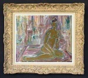 RAYA SAFIR (1909-2004) PEINTURE FAUVISTE FEMME NUE DANS L'ATELIER 1950 (27)
