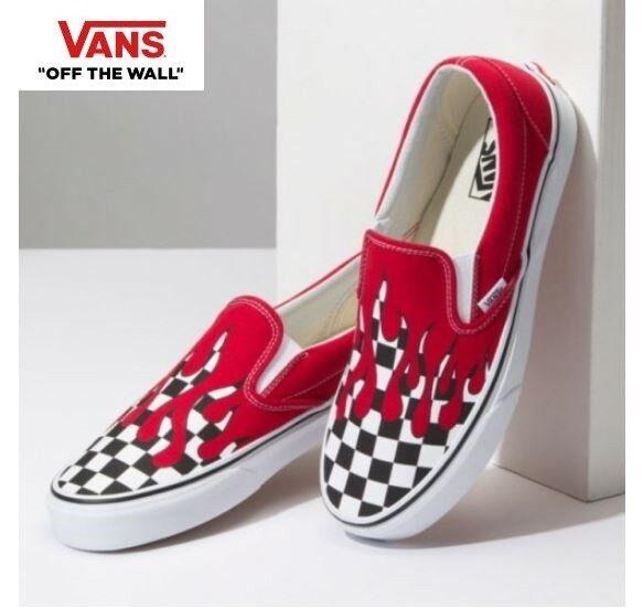 Vans Checker Flame À Enfiler rouge Street Style Fashion Baskets, chaussures noir Femme
