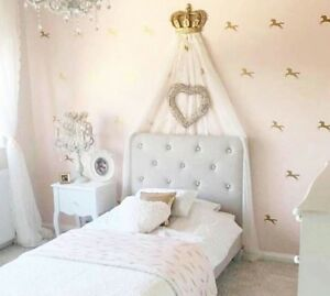 Image Is Loading Gold Canopy Princess Cot Bed Wall Crown Voile