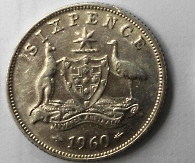 1960 Australian Silver 6d SIXPENCE (ZACK) QUEEN Elizabeth II  (very Nice)