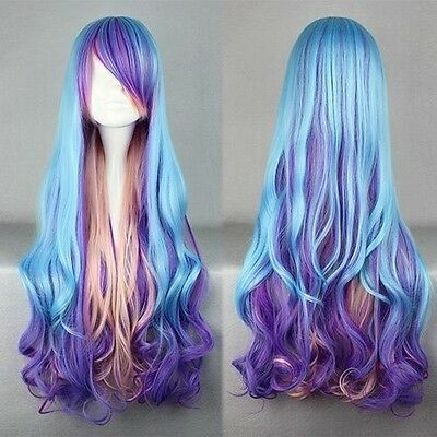 Women Fashion Long Charm Lolita Curly Wavy Color Mixed Anime Cosplay wig