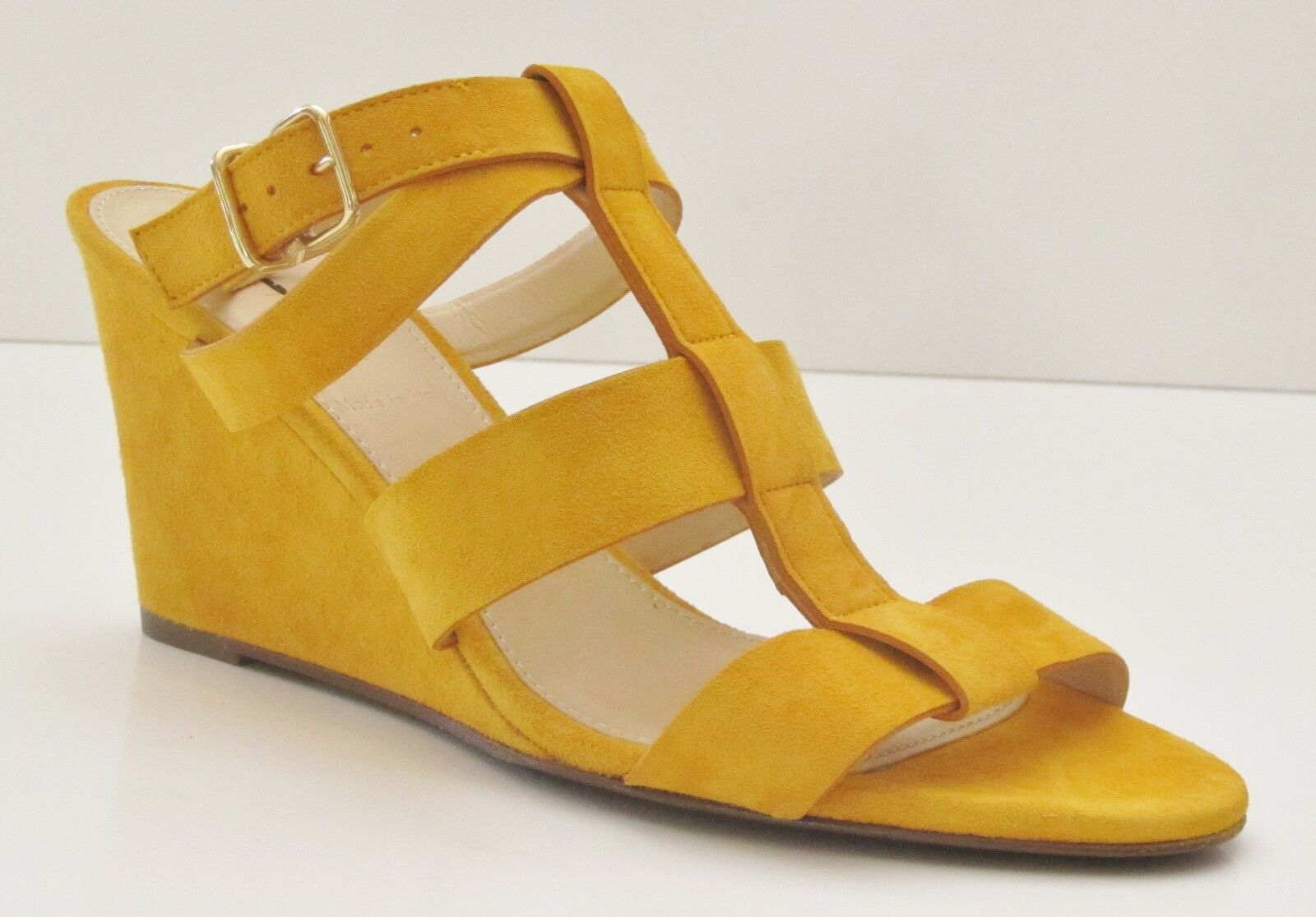 J Crew Olympia Suede Wedges 6.5 Bright Marigold