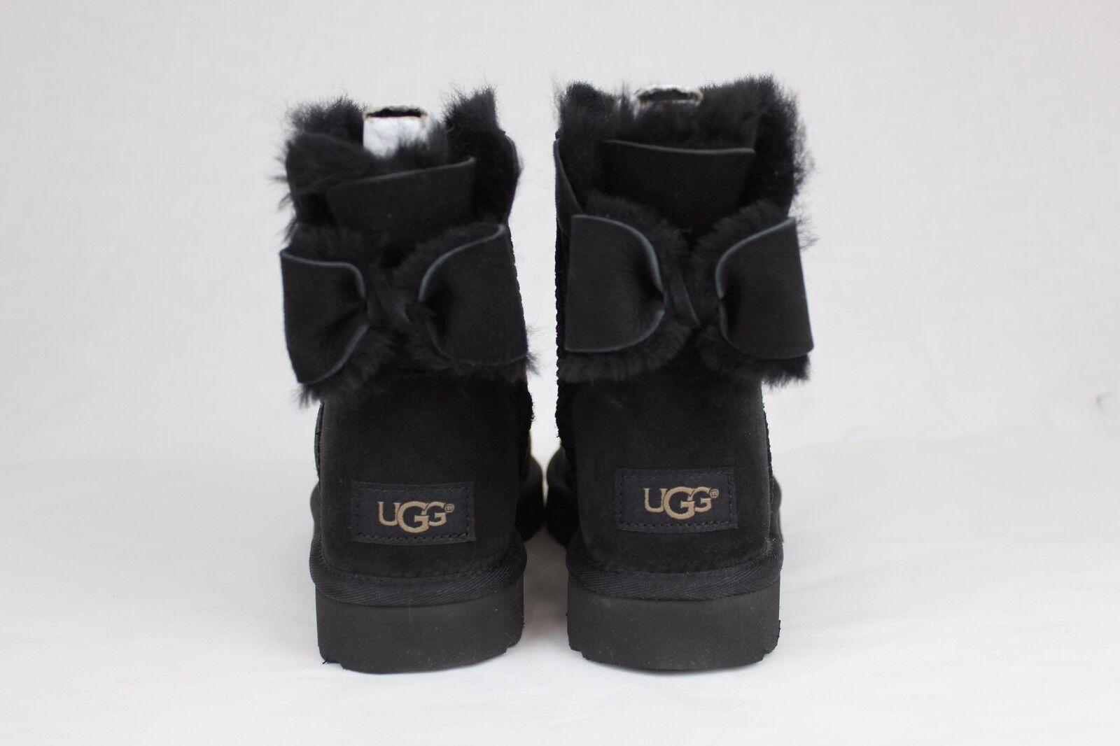 cb2e980ba52 UGG Australia Naveah Bow Boot Sshearling Sheepskin Mini Ankle Black Classic  5- 8 5
