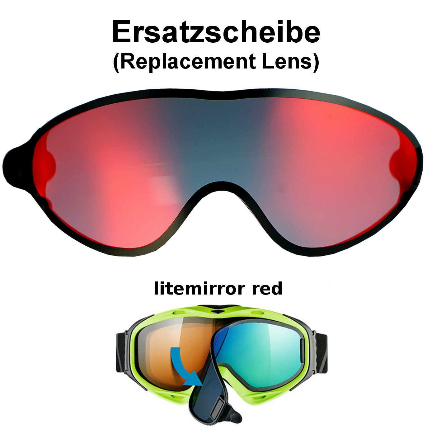 UVEX COMANCHE TAKE OFF Replacement Lens color Panel Red Ski Goggles Glasses