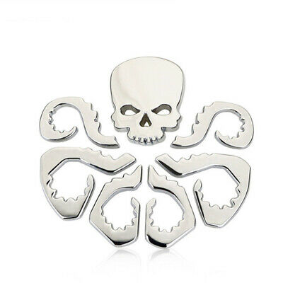 3D HYDRA Skull Octopus Style Car Aluminium Alloy Body Emblem Badge Sticker BLACK