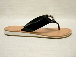 NIB *COACH *MADIE* BLACK SOFT PATENT LEATHER THONG SANDAL A8110 SIZE 7.5M