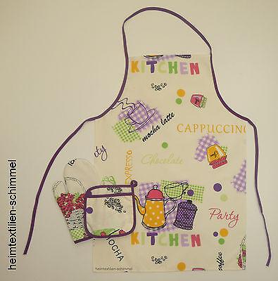 Küchen-Set Küchenschürze Kochschürze Schürze /& Handschuhe Ofenhandschuhe 3-tlg.