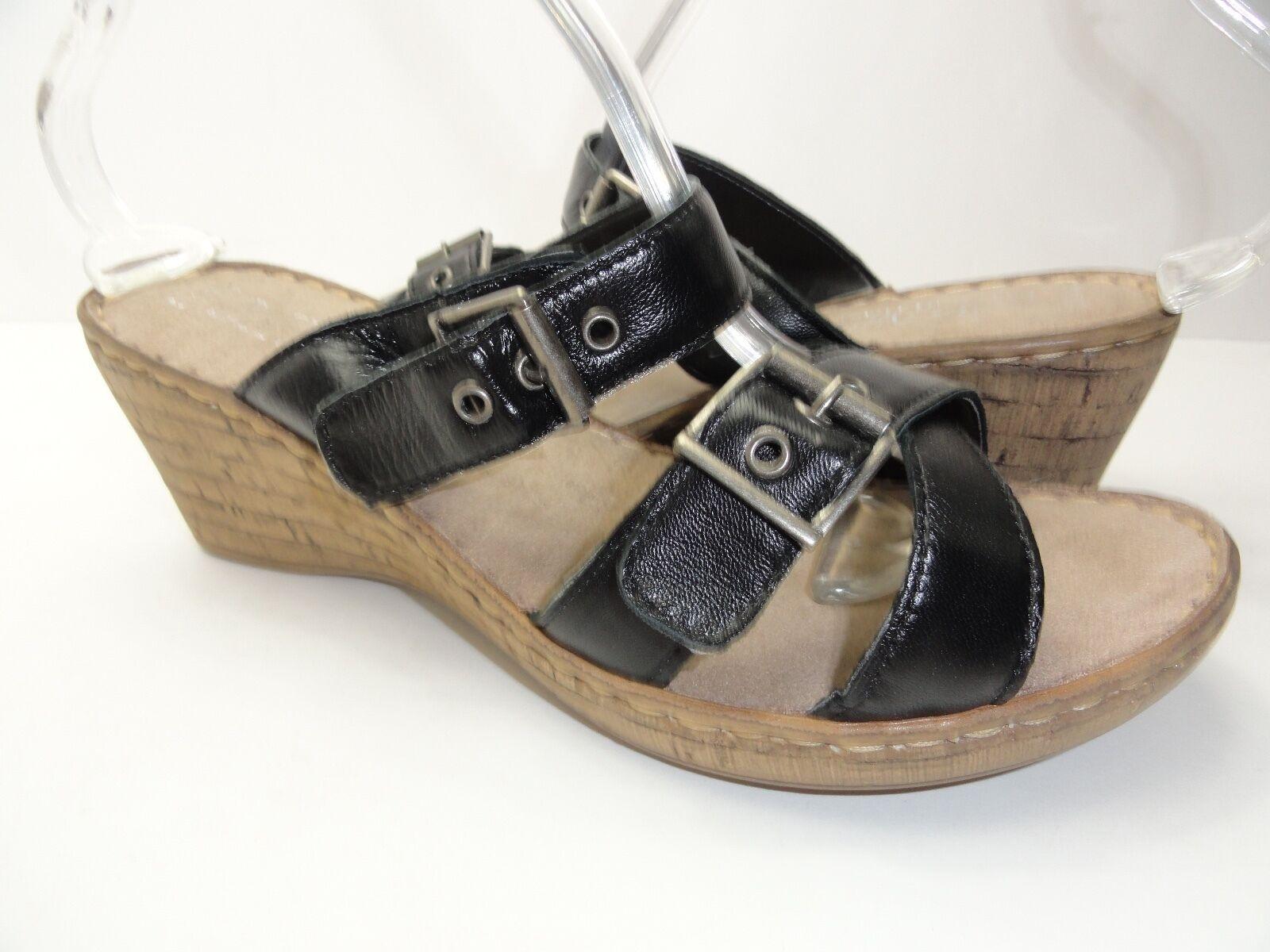 Bella Buckle Vita Women's Modena Black Buckle Bella Slip on Wedge Heels Size 9.5WW 7dd355