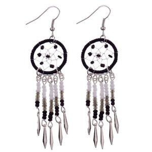 Image Is Loading Boho Long Bead Drop Dreamcatcher Earrings Black White