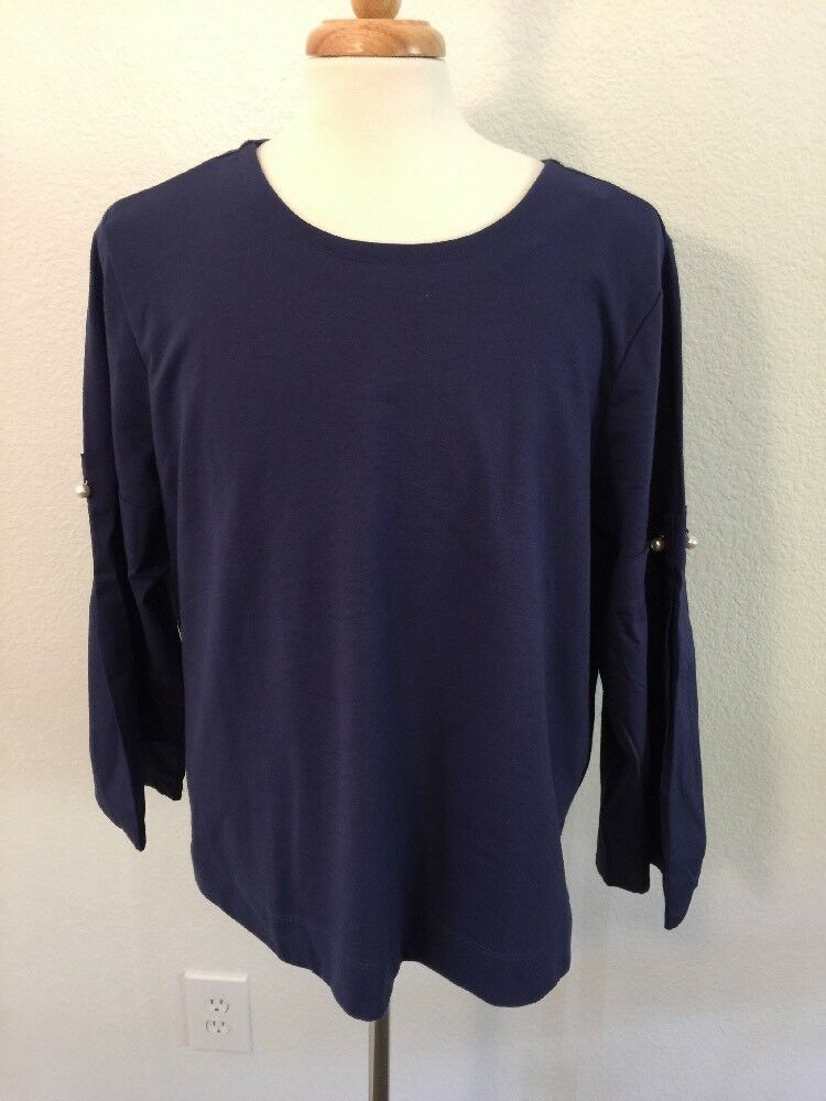 NWT Lane Bryant Bell Sleeve Navy Pearl Accent Shirt Sz 22 24
