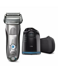 New Braun Series 7 Wet/Dry Electric Shaver Silver Plus Clean&Charge Station & T