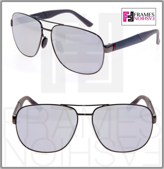 f7a3b7abffb3 GUCCI 2260 Grey Silver Mirrored Metal Rubber Asian Fit Sunglasses GG2260FS