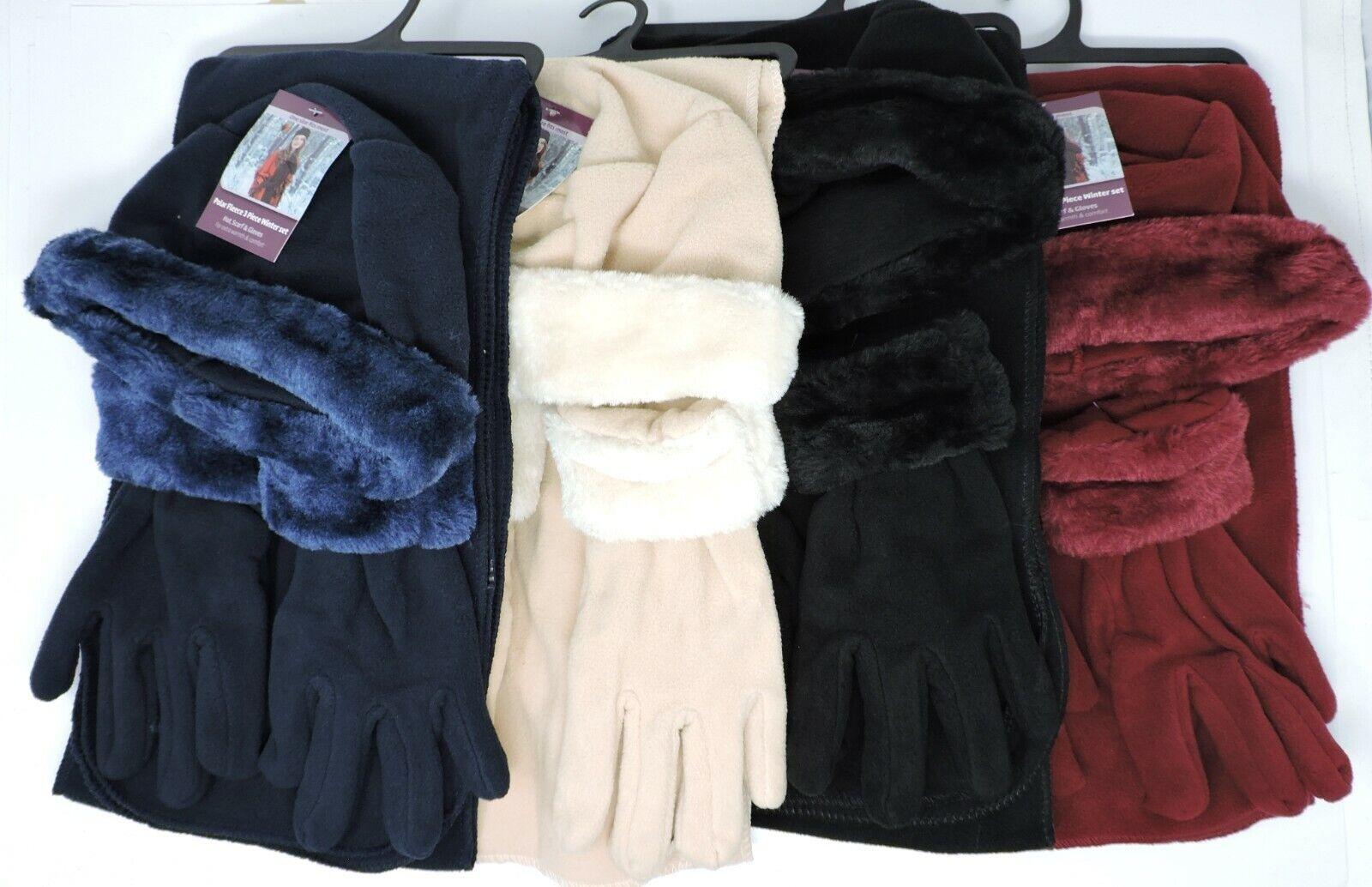 Heat Trendz Women's Polar Fleece Hat Scarf Gloves Winter 3pc Set One Size
