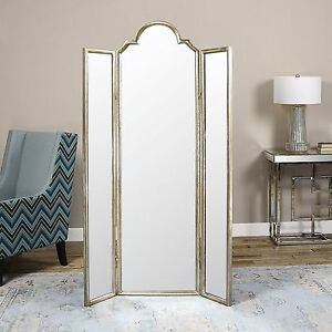 NEW 75 STANDING PANEL FLOOR MIRROR SCREEN ROOM DIVIDER AGED SILVER