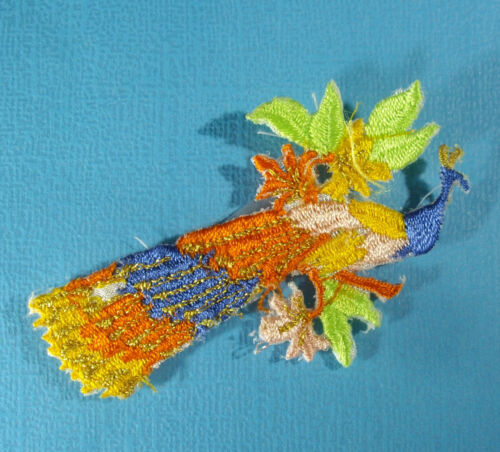New MULTI-COLOR PEACOCK Iron On Embroidered Applique  ** YOU CHOOSE COLOR **