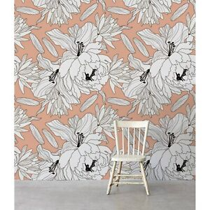 Non-Woven-wallpaper-Peony-Revolution-Floral-Sketch-Flowers-Traditional-art-Mural